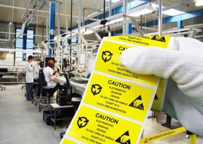 Sticker-Etikett-Maschinenaufkleber-Vorsicht-Caution-Industrieaufkleber