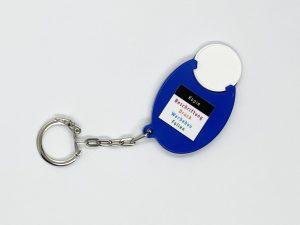 Streuartikel-Chiphalter-1Euro-Chip-Einkaufschip-Smiley-blau-Giveway-Werbemittel