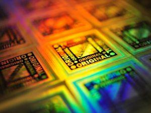 Etiketten-Sticker-Aufkleber-Vignette-Hologramm-Regenbogen-Farben-drucken