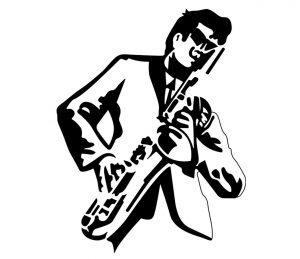 Mensch_0034 Saxofonist Wandtattoo