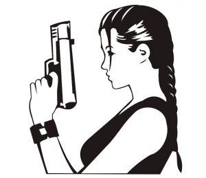 Mensch_0036 Lara Croft Pistole Wandtattoo
