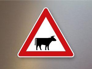 Verkehrsschild-Verkehrszeichen-Gefahrenzeichen-Viehtrieb-Aufstellung-links-101-22