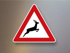 Verkehrsschild-Verkehrszeichen-Gefahrenzeichen-Wildwechsel-Aufstellung-links-142-20