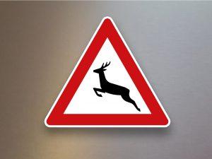 Verkehrsschild-Verkehrszeichen-Gefahrenzeichen-Wildwechsel-Aufstellung-rechts-142-10