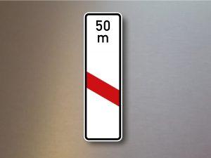 Verkehrsschild-einstreifige-Bake-mit-Entfernugsangabe-Aufstellung-links-162-21